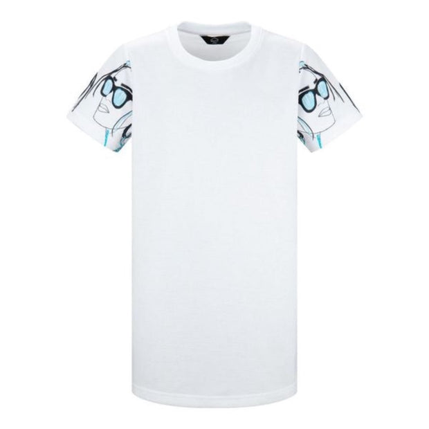 GIRLS WHITE REGULAR FIT T-SHIRT DRESS WITH BLUE FACEPRINT ARM DETAIL freeshipping - HOJ