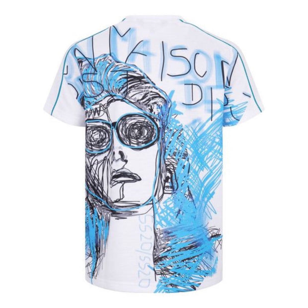 BOYS WHITE MASION DES JRS SHORT SLEEVED TOP WITH BLUE  ILLUSTRATED DESIGN freeshipping - HOJ