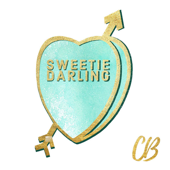 """Sweetie Darling"" Candy Conversation Hearts Art Print"