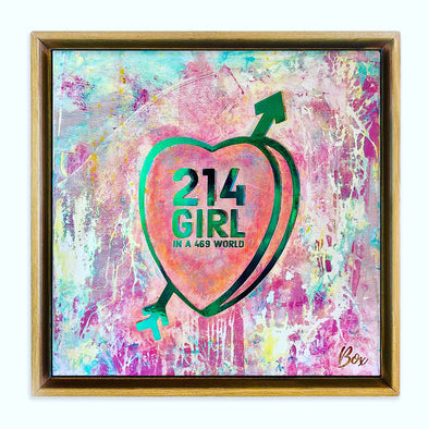 "214 Girl #2 Original Candy Conversation Hearts Acrylic 20""x 20"""