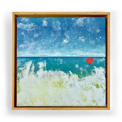 "Beach Heart #2 - The Little Heart Series Original Acrylic 12""x12"""