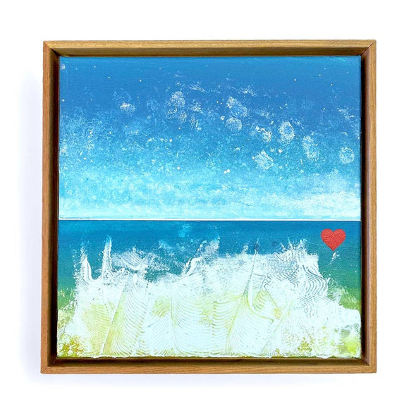 "Beach Heart #3 - The Little Heart Series Original Acrylic 12""x12"""