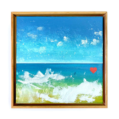 "Beach Heart #4 - The Little Heart Series Original Acrylic 12""x12"""