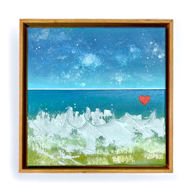 "Beach Heart  #5 - The Little Heart SeriesOriginal Acrylic 12""x12"""