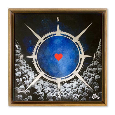 "Cave Heart Blue #1 Last Tag - The Little Heart Series Original Acrylic 12""x12"""