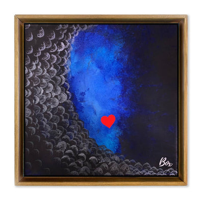 "Cave Heart Blue #2 -  The Little Heart Series Original Acrylic 12""x12"""