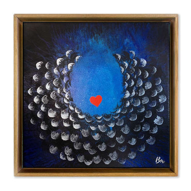 "Cave Heart Blue #3 - The Little Heart Series Original Acrylic 12""x12"""
