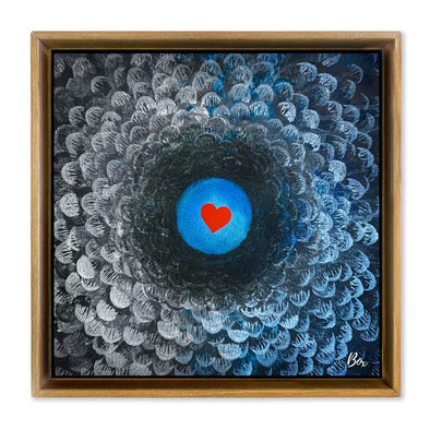 "Cave Heart Blue #4 -  The Little Heart Series Original Acrylic 12""x12"""