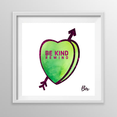 "Be Kind Rewind Candy Conversation Hearts Art Print White Frame 12"" x 12"""