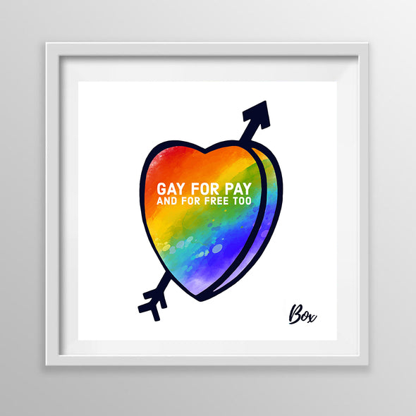 "Gay For Pay Candy Conversation Hearts Art Print White Frame 12"" x 12"""