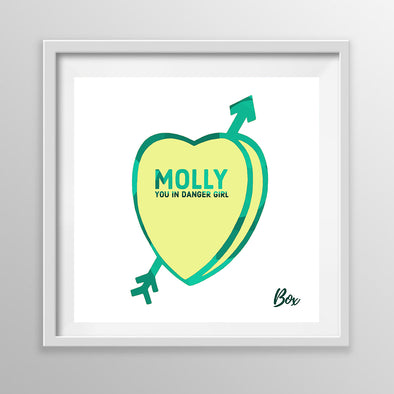"""Molly"" Candy Conversation Hearts Art Print White Frame 12"" x 12"""