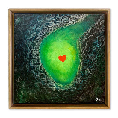 "Cave Heart Green #1 - The Little Heart Series Original Acrylic 12""x12"""
