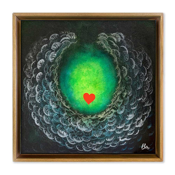 "Cave Heart Green #2 - The Little Heart Series Original Acrylic 12""x12"""