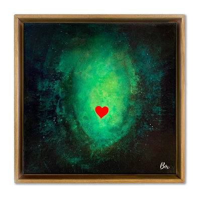 "Cave Heart Green #3 - The Little Heart Series Original Acrylic 12""x12"""