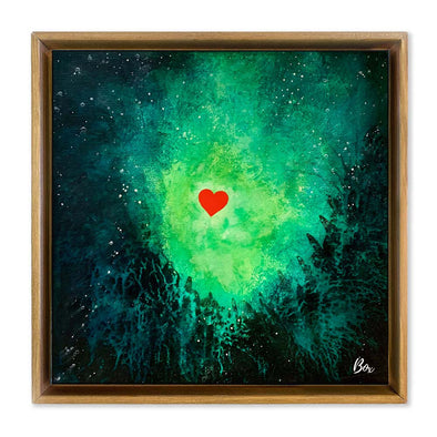 "Cave Heart Green #4 - The Little Heart Series Original Acrylic 12""x12"""