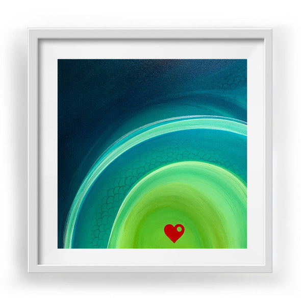 "Little Heart 1 Art Print White Frame 12"" x 12"""