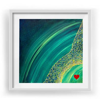 "Little Heart 3 Art Print White Frame 12"" x 12"""