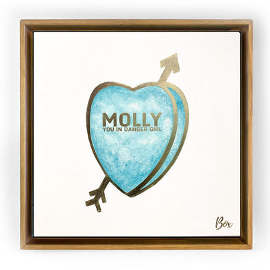 "Molly You in Danger Girl CandyOriginal Candy Conversation Hearts Acrylic 20""x 20"""
