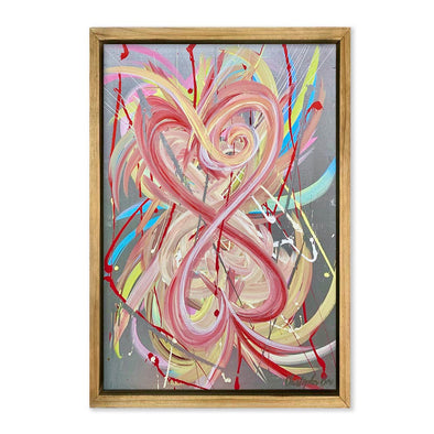 "Tangled Hearts: Love #5 Pink Heart 24"" x 36"" - SOLD!"