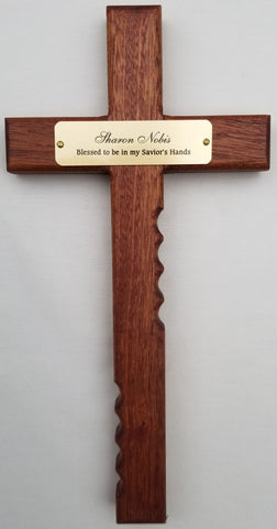 Religious Cross with Personalized Brass Plate