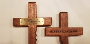 "Our personalized Christian cross will be a lifetime keepsake for the recipient.  This beautiful religious cross is 12"" x 6"" of solid mahogany and has finger grips for two people to pray together or one person to hold tightly while praying."