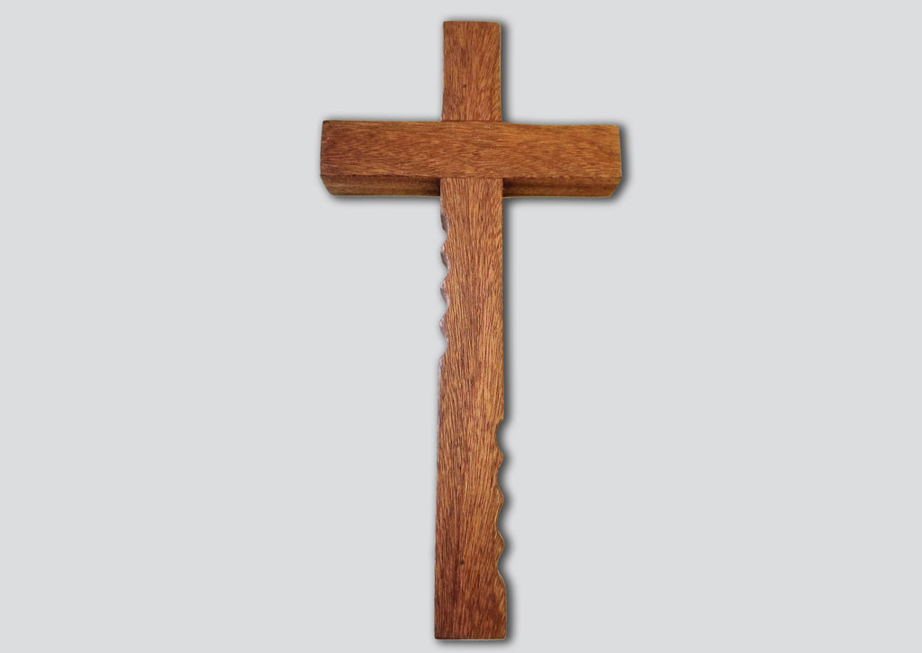 Powerful handheld Christian cross with finger grips.  The beautiful wooden cross is 12