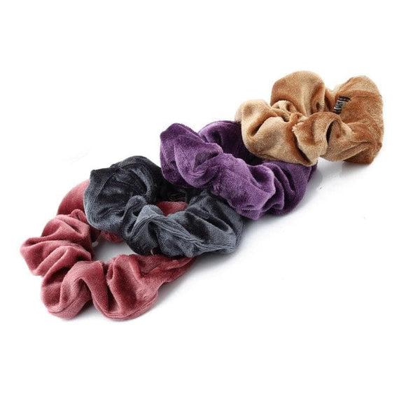 1PC Women Elegant Velvet Solid Elastic Hair Bands Ponytail Holder Scrunchies Tie Hair Rubber Band Headband Lady Hair Accessories - briskeys-deals