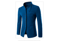 Men jacket - Men Wool Single - Breasted Collar Tunic - Casual Jacket
