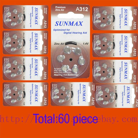 60 x Hearing Aid Batteries A312 312A ZA312 312 PR41 U - briskeys-deals
