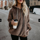 European and American long-sleeved hooded solid color sweater