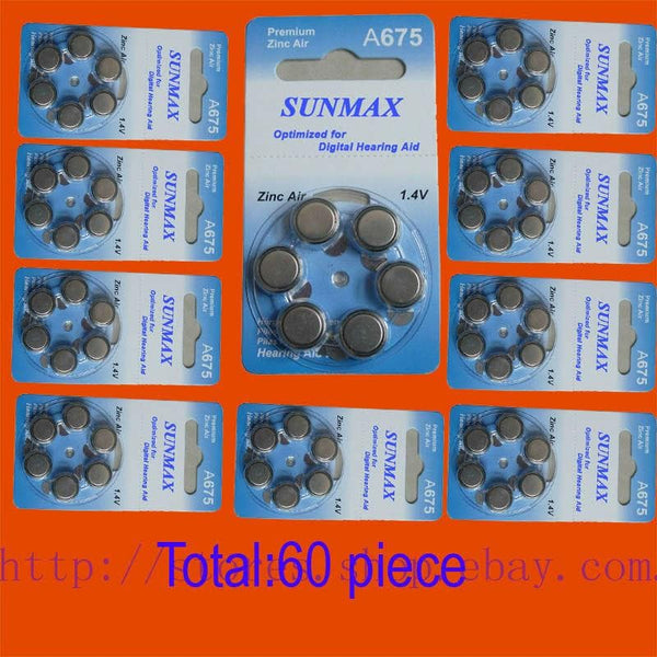 60 Batteries for hearing Aids A675 675A ZA675 675 PR44 Hearing Aid Batteries