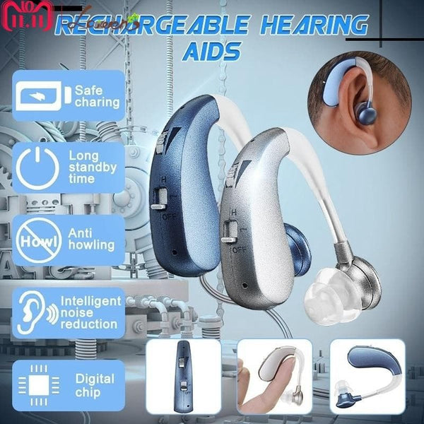 Rechargeable Mini Digital Hearing Aid Severe Hearing Loss BTE Hearing Aid
