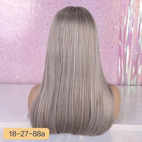 "Beautiful Element 18"" Long Synthetic Wig with Bangs Dark Root - briskeys-deals"
