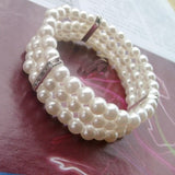 Simple Imitation Pearl Elastic Bracelet Statement Accessories Jewelry Women