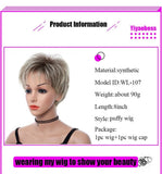 8inch Mix Brown Light Golden Short Synthetic Hair Wig With Bangs Wigs