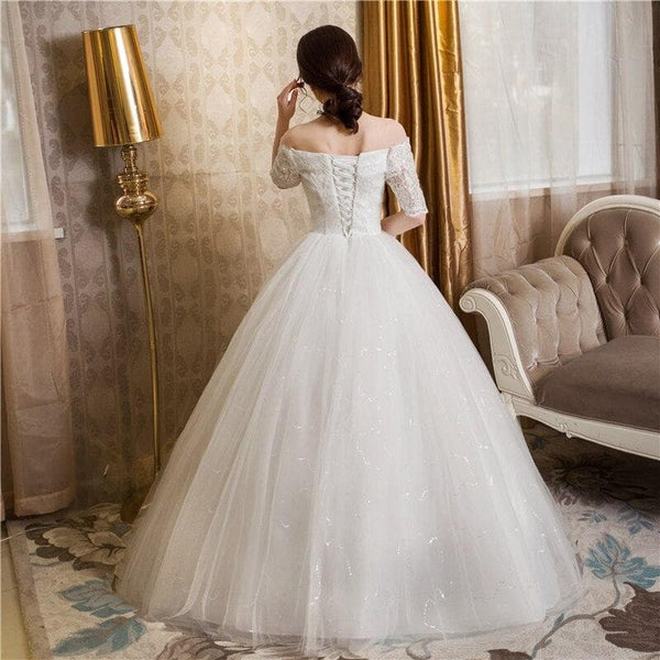 Wedding Dress Boat Neck Short Sleeve Lace Up Bridal Ball Gown - Briskeys Deals
