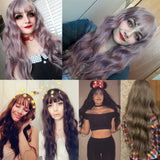 Long Mix Purple Womens Wigs with Bangs Heat Resistant Synthetic Kinky Curly Wigs