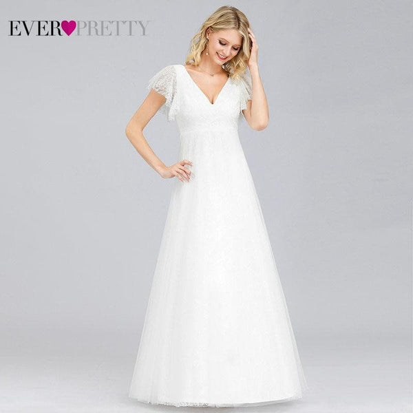 Lace Wedding Dresses V-Neck Embroidery Bride Gowns - Briskeys Deals