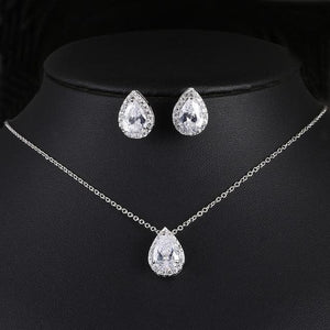 Wedding Jewelry Cubic Zirconia Sets inlay Luxury Crystal Bridal - briskeys-deals