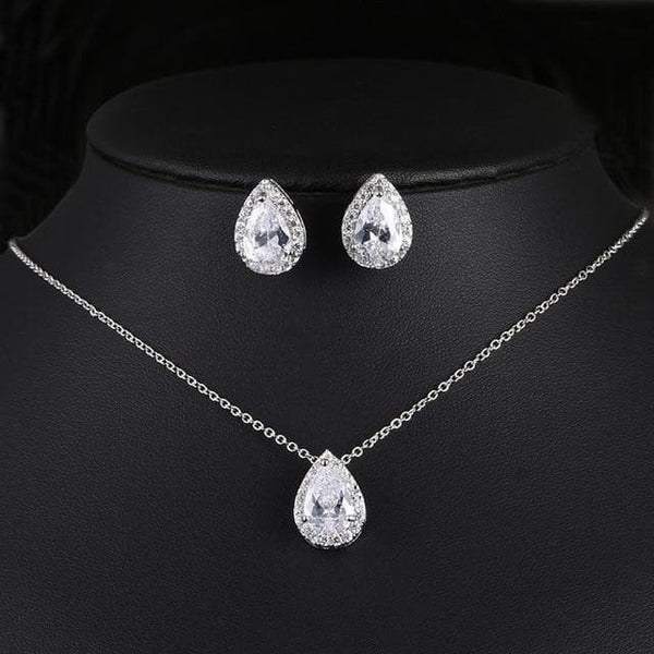 Wedding Jewelry Cubic Zirconia Sets inlay Luxury Crystal Bridal Earring, Necklace, Wedding Jewelry