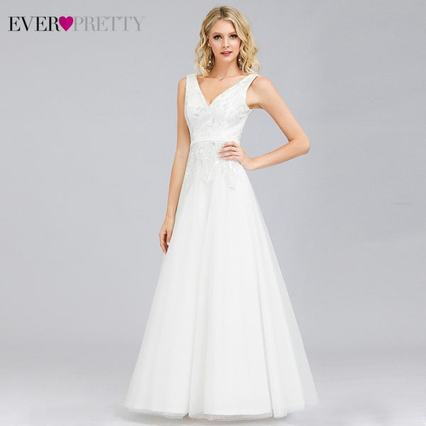 Elegant Wedding Dresses by Ever Pretty A-Line V-Neck Gowns For Brides