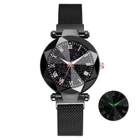 Luxury Starry Sky Stainless Steel Mesh  Watches For Women Crystal Analog Quartz