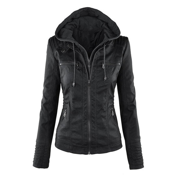 Gothic faux leather jacket for women with hoodies Autumn, Black, Fashion, Gothic, Hoodies, Jacket, Leather Jacket, Winter, Womens Department