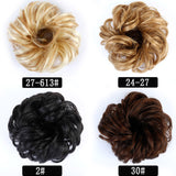 Synthetic Bun Elastic Blonde Black Wig And Hair Extensions