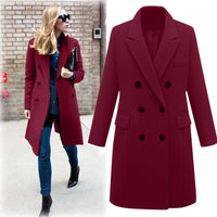 Women casual wool jacket elegant slim S M L outerwear Casual Jackets, Coat, Fashion, jackets, Long Coats, Outerwear, Winter Coat, Winter Coats, Womens, Wool Jackets