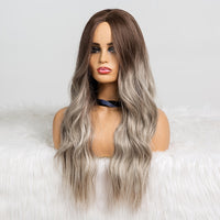 EASIHAIR Long Black to Brown Ombre Wigs High Density Temperature Synthetic Wigs For Black/White Women Glueless Wavy Cosplay Wigs