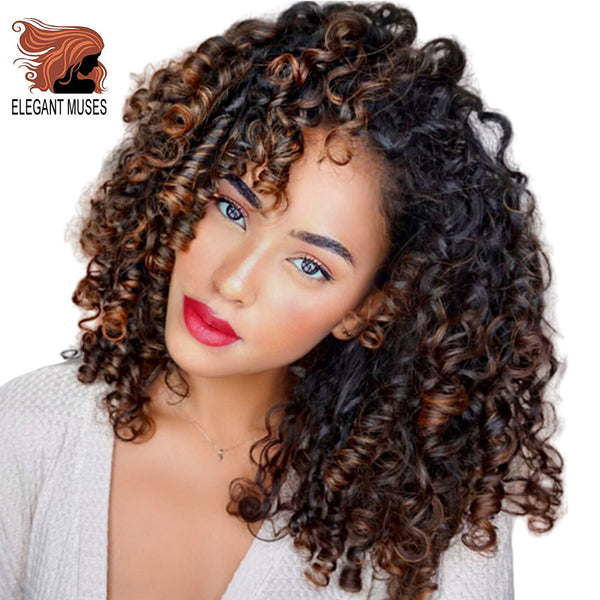 Afro Curly Wig Synthetic Wig Mixed Brown and Ombre Blonde Natural Black Hair for Women Heat Resistant Hairs Wigs