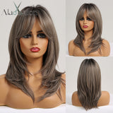 Synthetic Wigs with Bangs Long Straight Layered Hairstyle