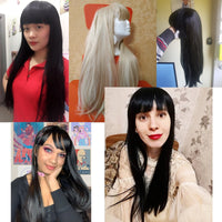 Long Straight Wig With Bangs Synthetic Hair Heat Resistant