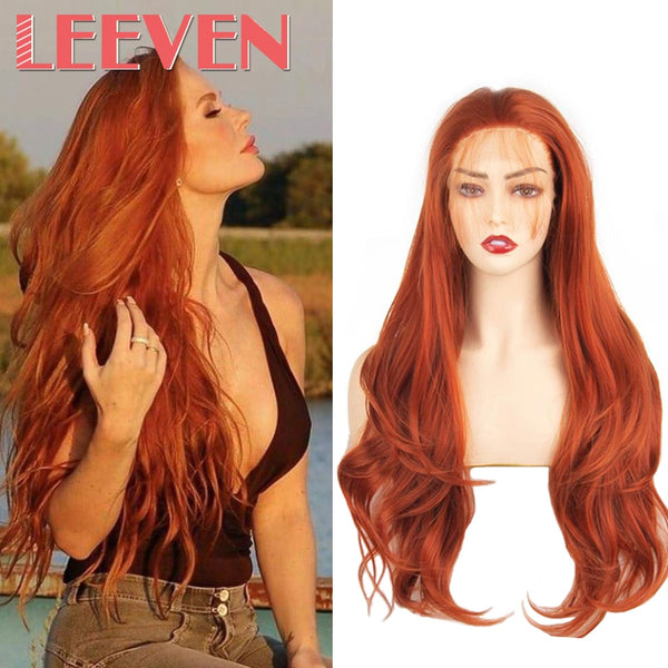 Red Long Wavy Synthetic Wigs With Baby Hair Wigs